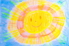 Sun watercolor Stock Photo
