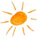 Sun. watercolor drawing on paper. Big sun. watercolor drawing on a paper vector illustration