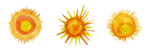 Sun watercolor icons set Royalty Free Stock Photography