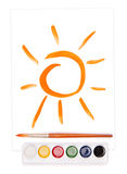 Sun and watercolor set Royalty Free Stock Photo