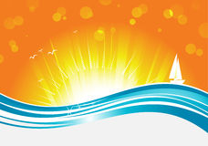 Sun and wave Stock Images