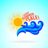 Sun wave ocean illlustration Royalty Free Stock Photo