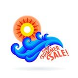 Sun wave ocean illlustration Stock Photos