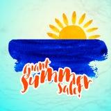Sun wave ocean illlustration Royalty Free Stock Photos