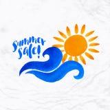 Sun wave ocean illlustration Royalty Free Stock Photography