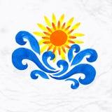 Sun wave ocean illlustration Stock Photo