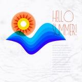 Sun wave ocean illustration Royalty Free Stock Photography