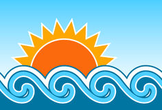 Sun and waves Royalty Free Stock Photo