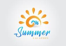 Sun waves beach icon logo design