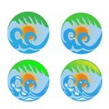 Sun waves and palm logos Stock Photos