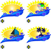 The sun and the waves postcard Royalty Free Stock Photos