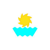Sun and waves. Sun with stylized rays and waves isolated on white background. Sea resort logo template Stock Image
