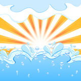 Sun with the waves and water  drops Royalty Free Stock Image