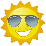 Sun Wearing Glasses. An illustration featuring a bright yellow happy sun wearing sunglasses and a smile Stock Photos