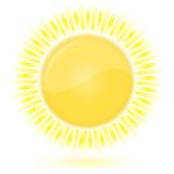 Sun. Weather forecast glossy icon vector illustration