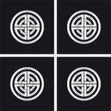 Sun wheel, celtic solar symbol. Sunwheel – celtic decor. Four different variations of the same solar motif. Silver, metallic ornament on black background Stock Photo