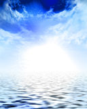 Sun and white cloud cover Royalty Free Stock Images