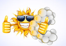 Sun with white cloud. Happy sun with white cloud in the sky Vector Illustration
