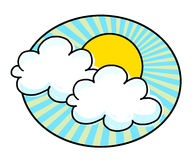 Sun and clouds illustration. Sun and white clouds illustration; Sunshine drawing Royalty Free Stock Images