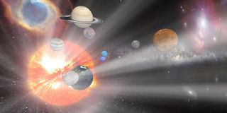 sun white rays with Solar system Royalty Free Stock Photos
