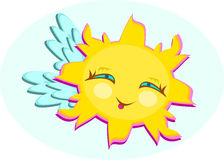 Sun with Wings and cute Smile Royalty Free Stock Image