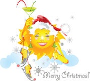 Sun in winter. Funny sun is ready for cold winter Royalty Free Stock Images