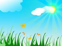 Sun, Wolken und butterflyes lizenzfreie abbildung