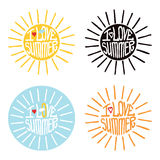 Sun from words I love summer.Typography Design. Typography  Design.Silhouette of sun  from words .The message I love summer.To use as a logo ,icon, label, stiker Royalty Free Stock Photo