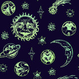 The sun with wrinkled face of a wise old man, young moon, planets, comet and stars of different shapes with mysterious faces. Old fashioned woodcut style design Royalty Free Stock Photos
