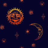 The sun with the wrinkled face of a wise old man, young moon and stars of different shapes with mysterious faces, lips and eyes. Old fashioned woodcut style Stock Photos