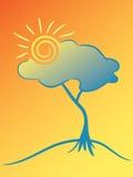Sun y árbol. Imagen de archivo libre de regalías