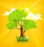 Sun y árbol stock de ilustración
