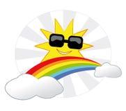 Sun y arco iris stock de ilustración