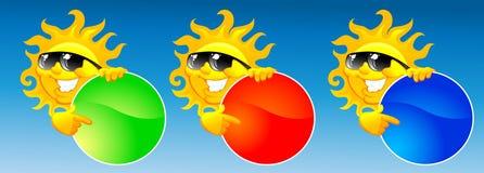 Sun y botón ilustración del vector