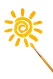 Sun y brocha Foto de archivo