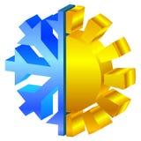 Sun y icono del copo de nieve Imagenes de archivo