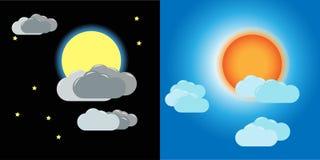 The Sun y la luna ilustración del vector
