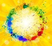 Sun y la pintura salpica el fondo del efecto ilustración del vector