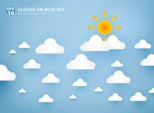 Sun y las nubes blancas en fondo en colores pastel del cielo azul diseñan el papel stock de ilustración