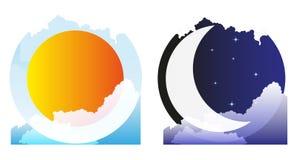 Sun y luna Fotografía de archivo libre de regalías
