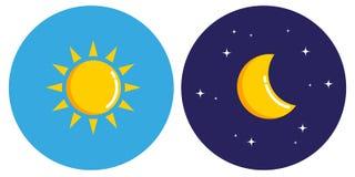 Sun y luna en concepto del círculo día y noche stock de ilustración