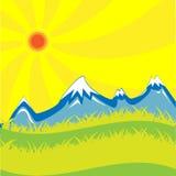 Sun y montañas Imagen de archivo libre de regalías