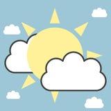 Sun y nubes stock de ilustración