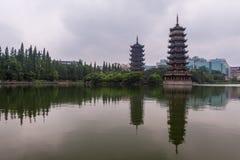 Sun y pagoda de la luna Imagen de archivo libre de regalías