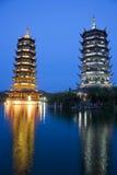 Sun y pagodas de la luna, Guilin, China Fotos de archivo libres de regalías