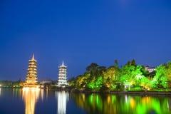 Sun y pagodas de la luna, Guilin, China Imagen de archivo libre de regalías