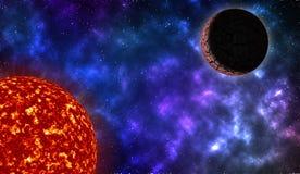 Sun y planeta en espacio profundo stock de ilustración