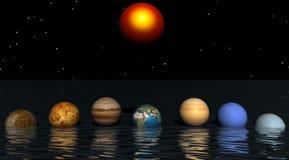 Sun y planetas Imagen de archivo libre de regalías