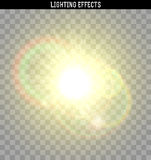 Sun yellow glare light effect. Royalty Free Stock Image