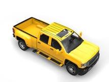 Sun yellow modern pickup truck - top down view Royalty Free Stock Image